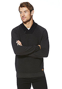F&F Mock Layer Shawl Collar Jumper - Charcoal