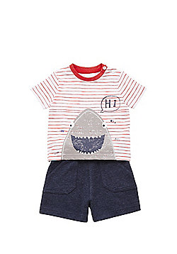F&F Shark Print T-Shirt and Sweat Shorts Set - Multi