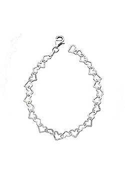 Sterling Silver Diamond Cut Heart Link Bracelet