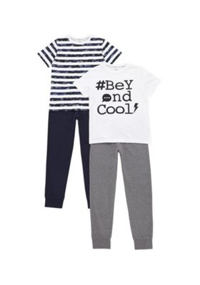 F&F 2 Pack of Striped and Beyond Cool Slogan Pyjamas Multi 10-11 years
