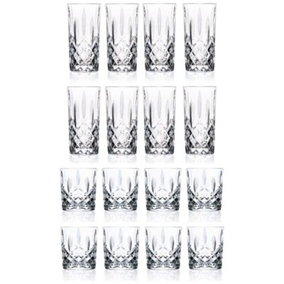 RCR Orchestra Crystal Tumbler Glasses (340ml) & Hiball Glasses (396ml) 16 Pc Set