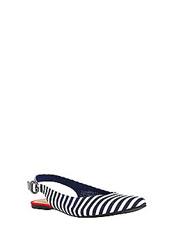 F&F Striped Slingback Pointed Ballerina Pumps - Blue/White