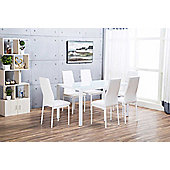 Roma White Glass/Metal Dining Table And 6 White Dining Chairs