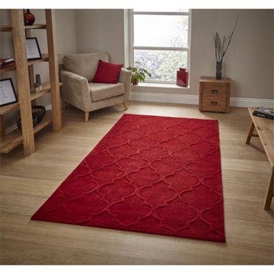 Modern Damask Style Red Rug - 120x170cm