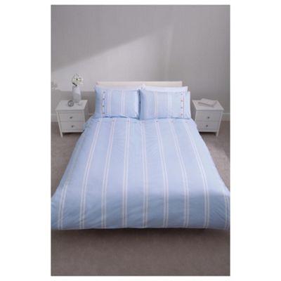 Tesco 100% Cotton Duvet Cover Set King Chambray Blue Thin Stripe