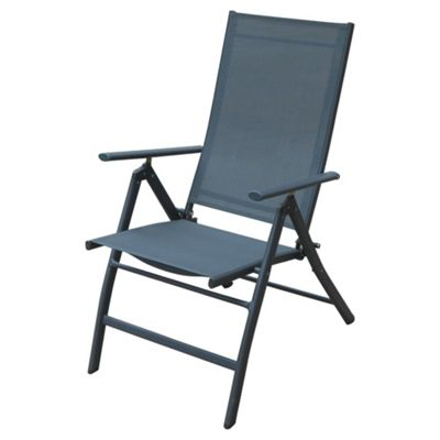 Seville Metal/Waterproof Woven Textile 5 Position Recliner - Charcoal
