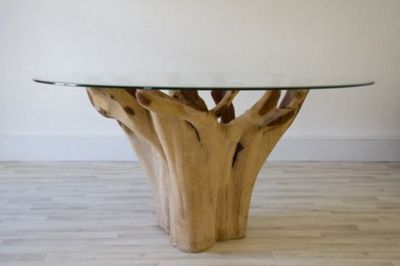 1.5m Reclaimed Teak Root Flute Circular Dining Table