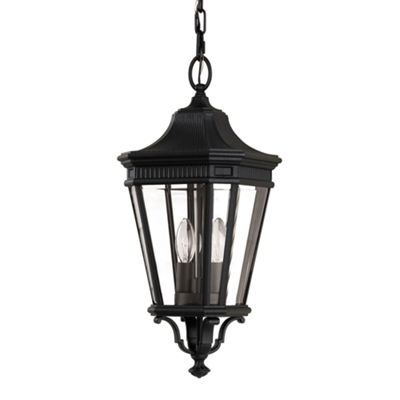 Black Medium Chain Lantern - 2 x 60W E14