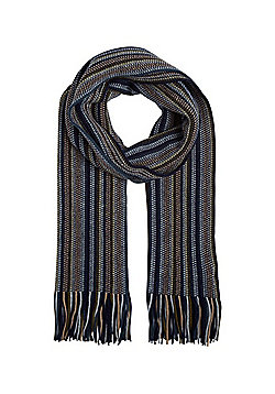 F&F Striped Tassel Scarf - Blue & Multi