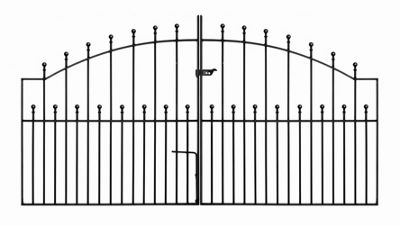 Wrought Iron Style Ball Finial Arched Driveway Gate 213cm GAP x 122cm High
