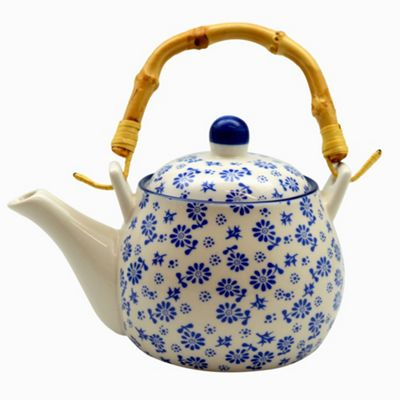White and Blue Daisy Tea / Coffee Pot With Bamboo Handle. 500ml (17.5oz)