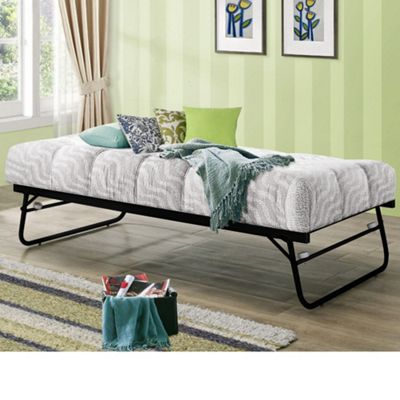 Happy Beds Trundle Metal Guest Bed with Memory Foam Mattress - Black - 3ft Single