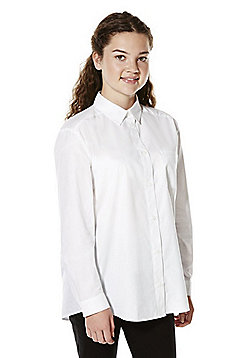 F&F School Pleat Back Shirt - White