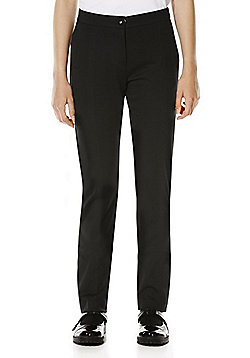 F&F School Girls Jersey Skinny Leg Trousers - Black