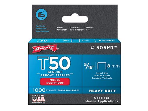 Arrow T50M 505m Monel Staples 8mm ( 5/16in) Box 1000