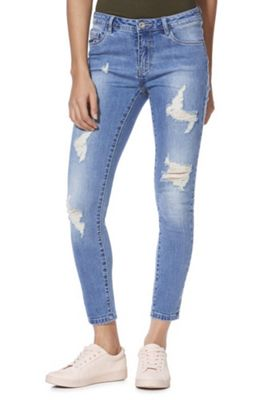 Only Ripped Skinny Jeans Blue 25 Waist 32 Leg