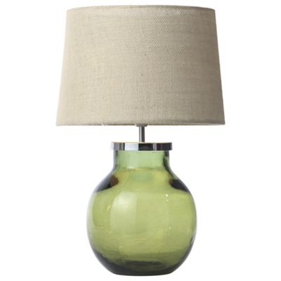 Aldeburgh recycled glass table lamp olive green