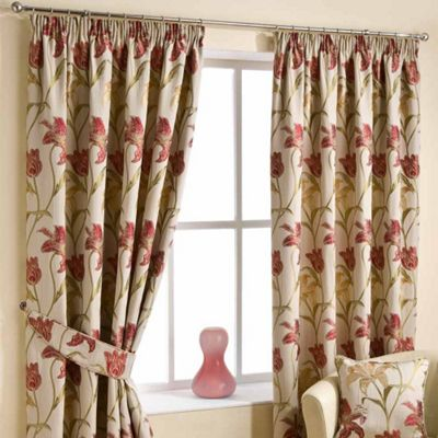 Homescapes Cream Ready Made Jacquard Curtain Pair Floral Tapestry Design 90x90