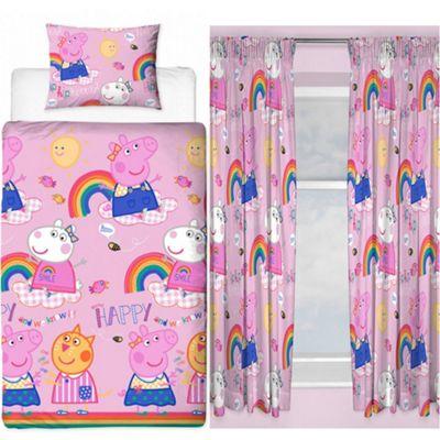 Peppa Pig Hooray Single Rotary Duvet Set + Peppa Pig Hooray Curtains 72
