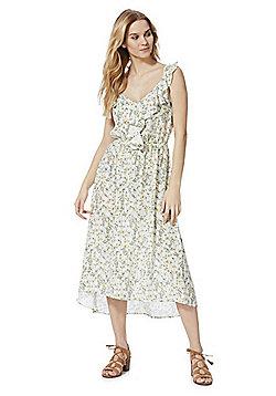 F&F Wildflower Print Ruffle Midi Summer Dress - Cream