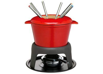 Kitchen Craft Master Class Cast Iron Enamelled Red Fondue Set