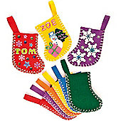Mini Felt Coloured Stockings (6 Pcs) Christmas