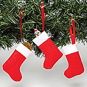 Mini Felt Christmas Stockings to Decorate Hang and Fill with Treats - Xmas Hanging Decoration Set (Pack of 8)