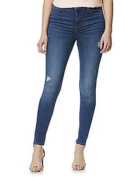F&F Contour Distressed High Rise Skinny Jeans - Mid Wash