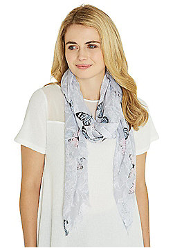 F&F Sequin Embellished Butterfly Print Scarf - Grey