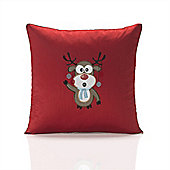 Christmas Rudolph Red Embroidered Cushion Cover - 46x46cm