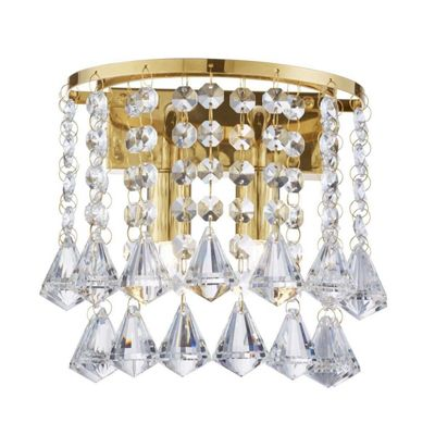 DORCHESTER 2 LIGHT WALL BRACKET, GOLD, CLEAR CRYSTAL PYRAMID DROPS