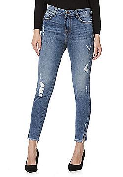 F&F Ripped Split Hem Mid Rise Skinny Jeans - Light wash