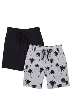 F&F 2 Pack of Plain and Palm Print Sweat Shorts Grey/Black 10-11 years