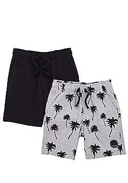 F&F 2 Pack of Plain and Palm Print Sweat Shorts - Grey/Black