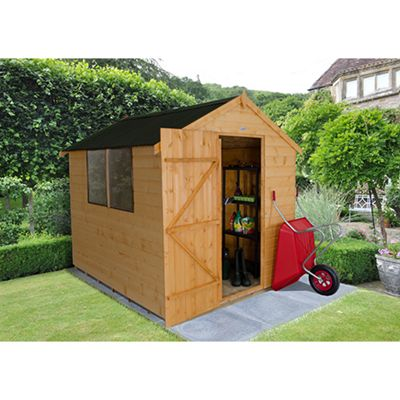 Forest Garden Shiplap Dip Treated 8x6 Apex Shed with Onduline Roof Installed