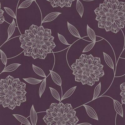 Fresco Great Value Vision Floral Plum Purple Wallpaper