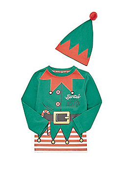 F&F Elf Christmas T-Shirt and Hat Set - Green