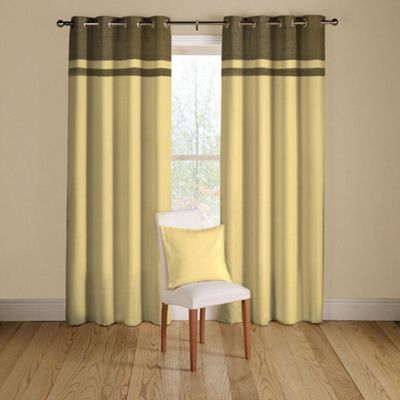 Oktai Lined Curtains with Eyelet Heading in Natural - 116cm Width x 137cm Drop