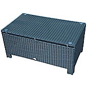 Outsunny Rattan Coffee Table W/ Iron Frame Tempered Glass
