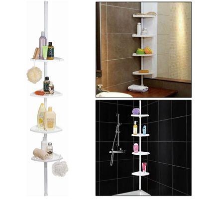 Top Home Solutions 4 Tier Adjustable Telescopic Bathroom Corner Shower Shelf Rack Organiser Caddy