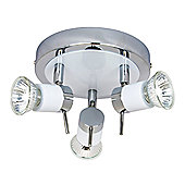 Contemporary Circular White/Chrome Halogen Bathroom Ceiling Spot Light IP44 Rated