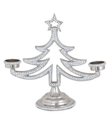 Nickel Christmas Tree 2 Tealight Holder (27cm)