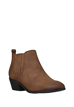 F&F Western Low Ankle Boots - Tan