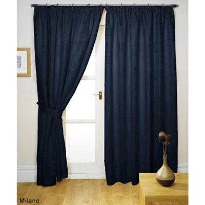 Hamilton McBride Milano Pencil Pleat Lined Black Curtains & Tie backs - 90x72 Inches (229x183cm)