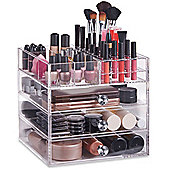 Beautify Large Acrylic Makeup Organiser with 3 Drawers - Clear