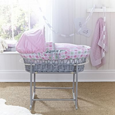Clair de Lune Grey Wicker Moses Basket (Rabbits)