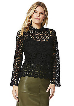 F&F Lace Floral Trumpet Sleeve Top - Black