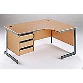 DSK Office Left Handed Ergonomic Desk - 3 Drawer Fixed Pedestal in Beech