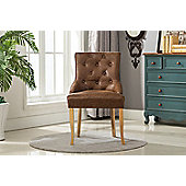 Fabric Accent Chair Dining Chair Scoop Back (Brown)