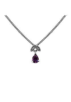 Gemondo Sterling Silver 0.24ct Amethyst & Marcasite February 45cm Necklace